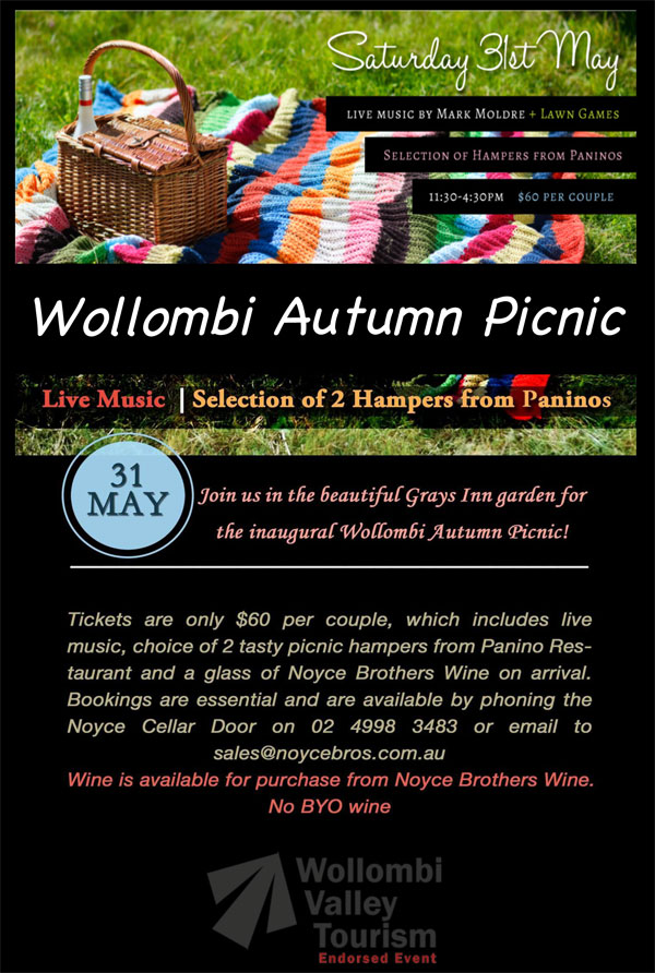Wollomi Autumn Picnic, Grays Innn garden, Hunter Valley